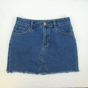 PacSun Denim Mini Skirt Raw Hem Size 26 Zip Fly